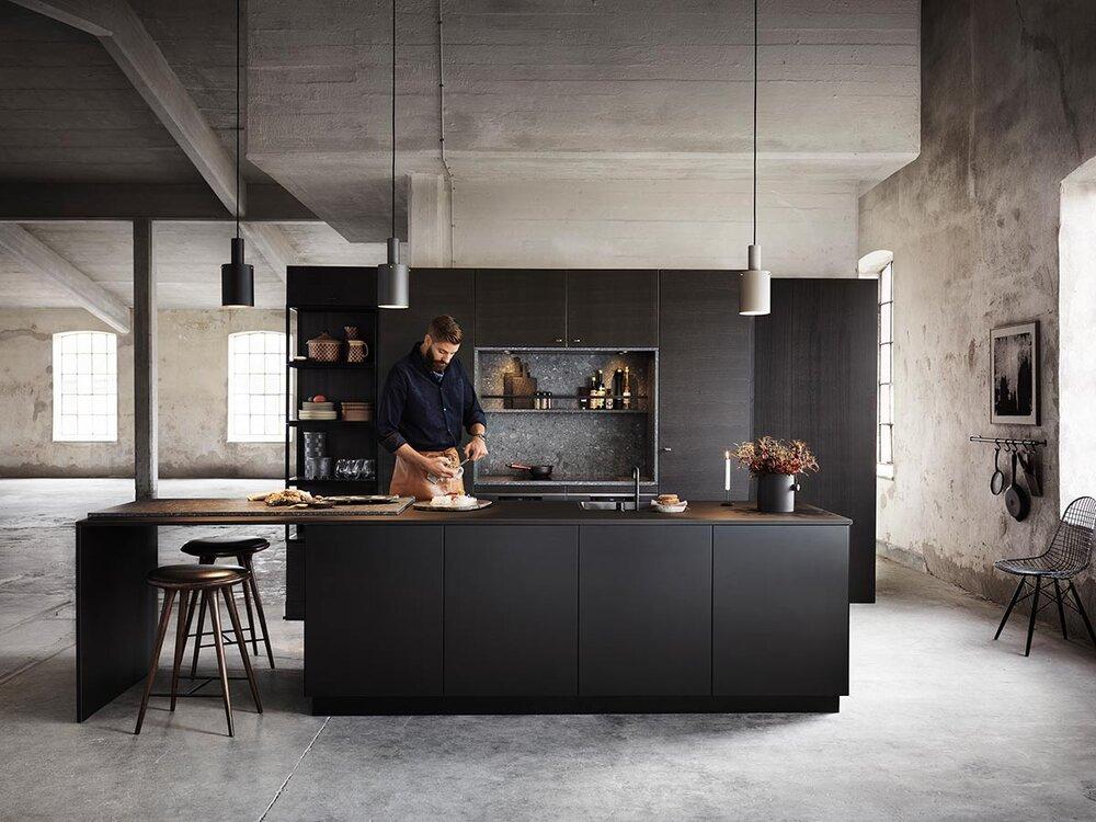 Svart moderne kjøkken