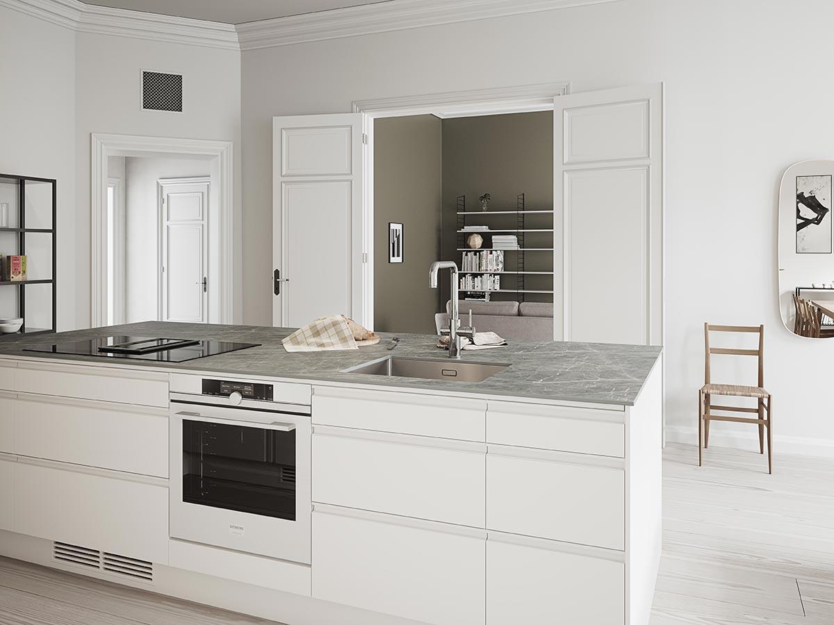 Kjøkkeninspirasjon: moderne hvitt kjøkken med stor kjøkkenøy