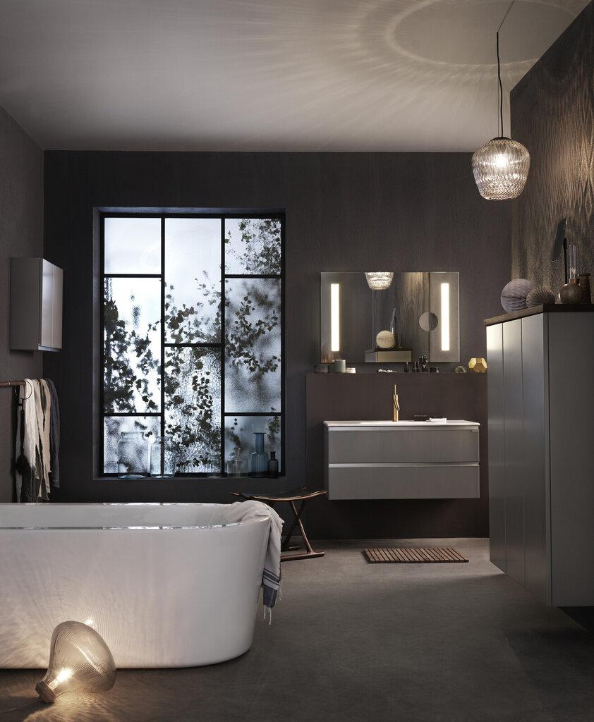 Moderne bad med grå baderomsinnredning