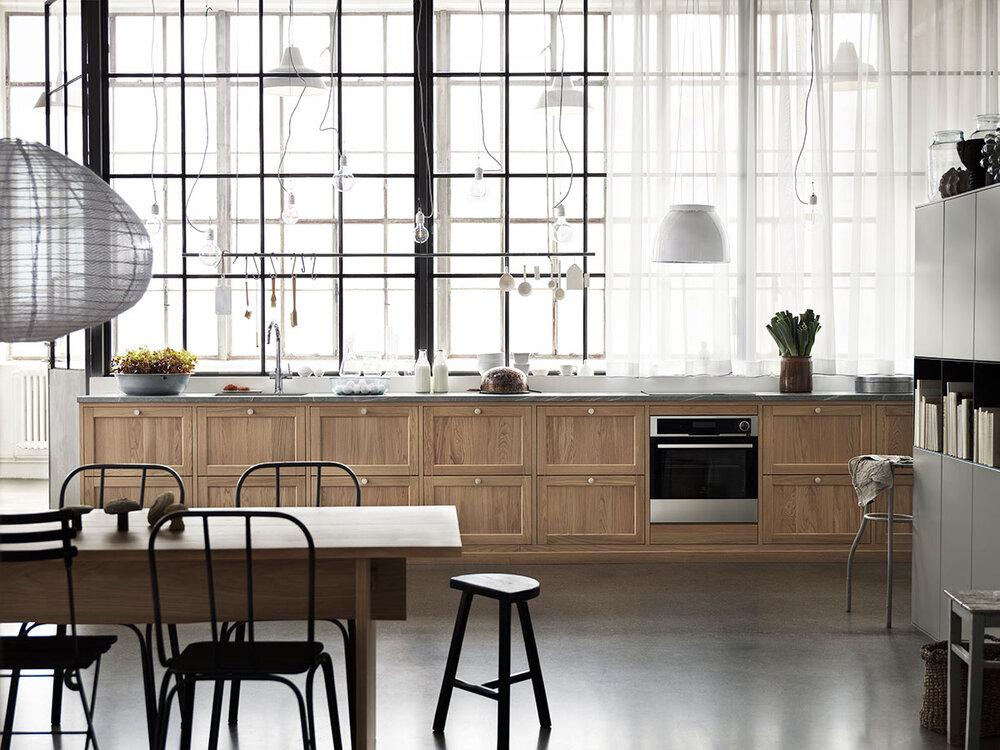 Kjøkkenfronter i grå og eik