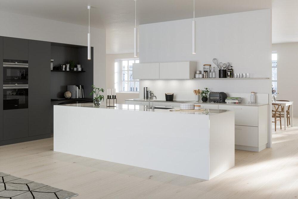 Moderne kjøkken i grått og hvitt